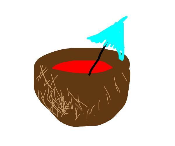 Koolaid inside a coconut