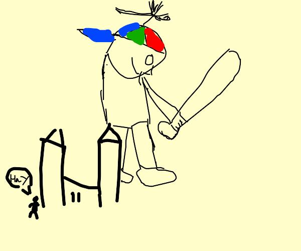 Kid destroys Lego City with a bat