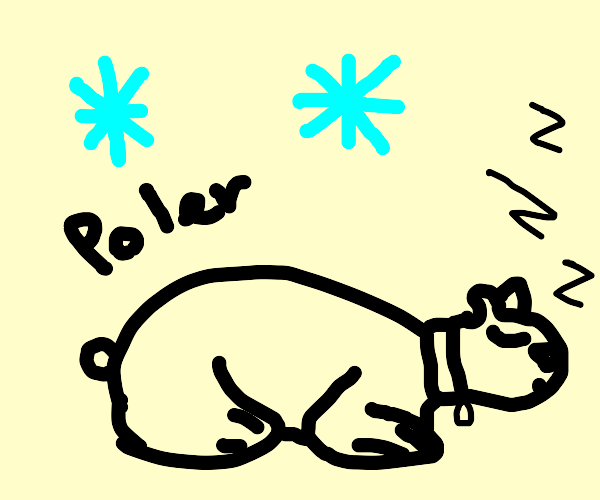 a polar bear wearing a collar sleeps