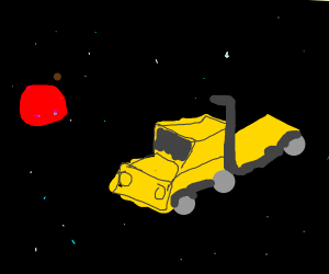 A yellow semi truck floating through space