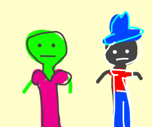 Green women and blue hatted black man