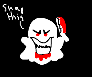 evil snapchat ghost (but with arms)