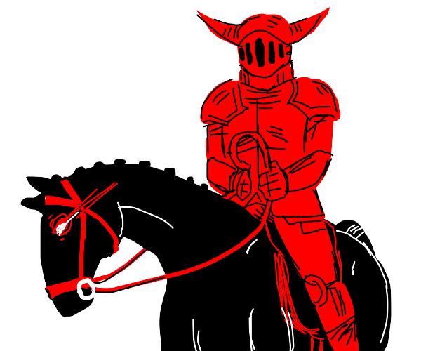 Satan knight riding a black horse