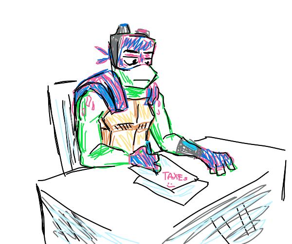 Turtle writes paperwork