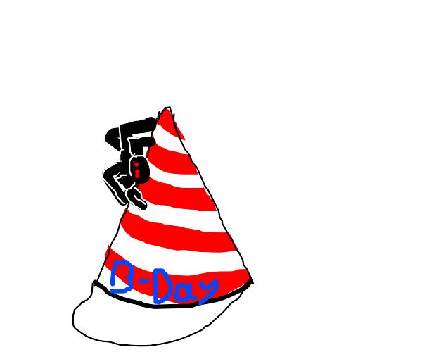 Spider on a birthday hat