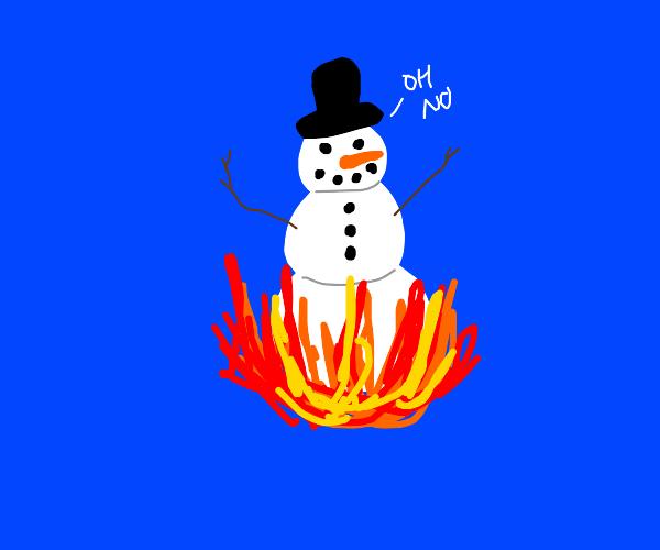 fire melting snowman