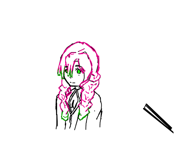 some anime girl with pink hair and green tips