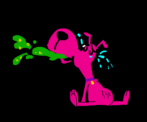 Pink Dog crying and throwing up