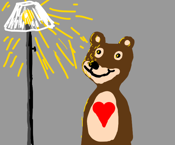 a bear really loves the light from a lamp