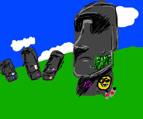graffiti on Easter Island heads
