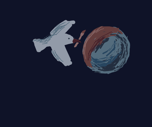 bird painting the moon red