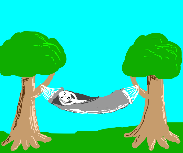 Sleeping in a hammok between two trees -u-