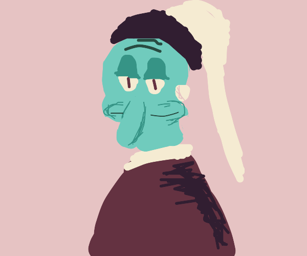Squidward with a pearl earring