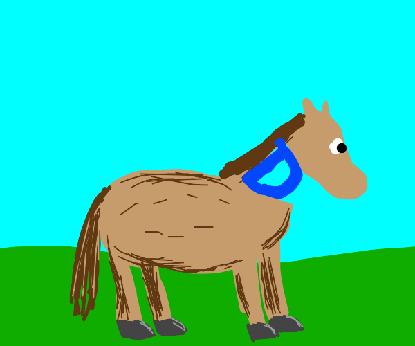 A horse but it's neck is drawception D