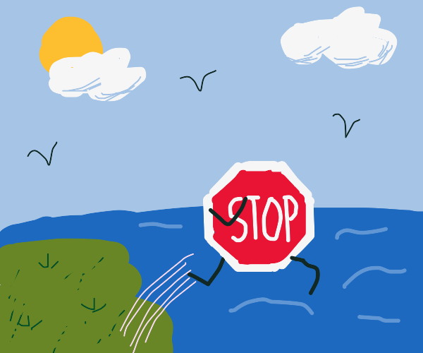 A Stop Sign jumping over the Ocean