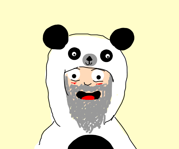 old man in a panda hat