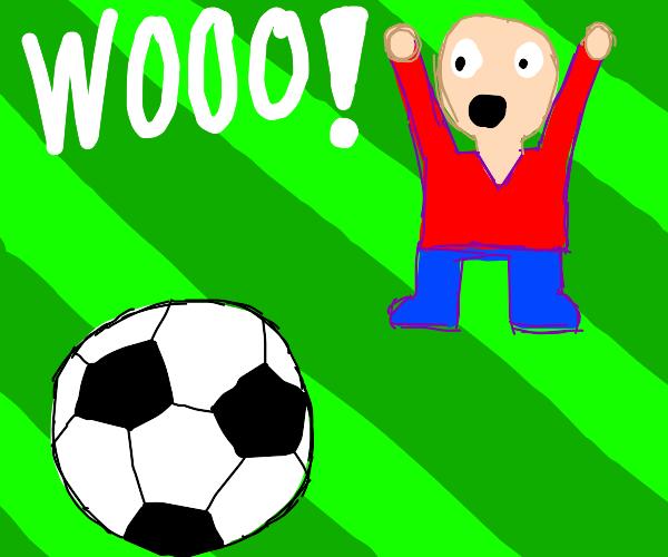 a weirdo cheering on a football