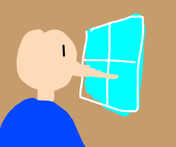 Bald man with long nose looking out a window