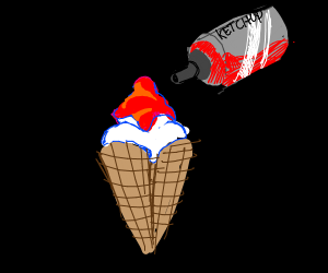 Ketchup-Covered Ice Cream