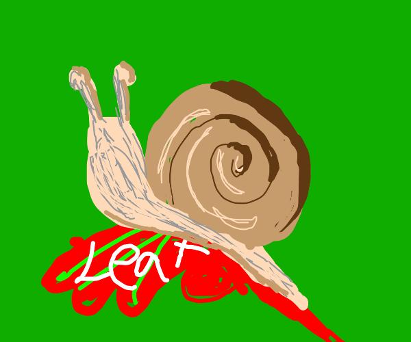realistic snail on unrealistic leaf