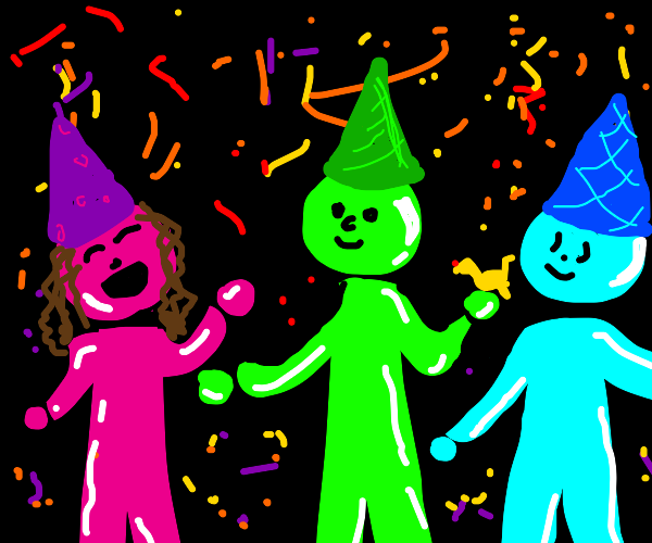 Various brightly-colored people have a party