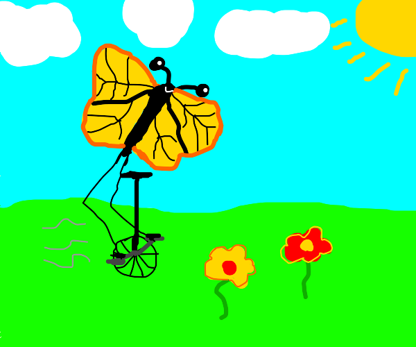 A butterfly on a unicycle