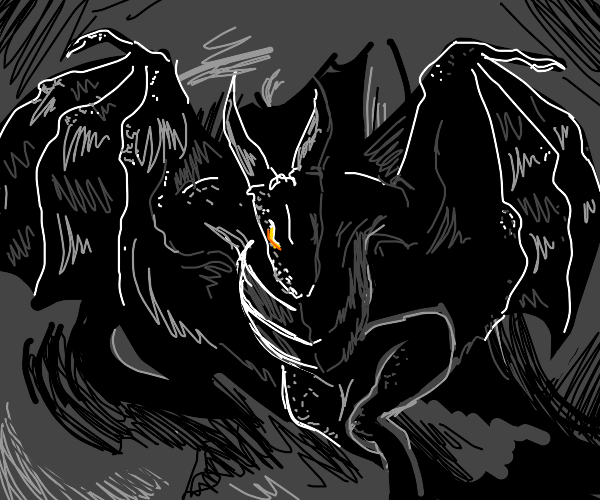 black dragon emerging from a cave