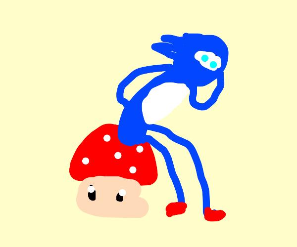 Sonic sits on a Mario mushroom