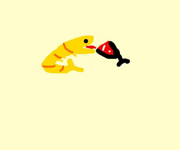 a yellow shrimp drinking a blood smoothie
