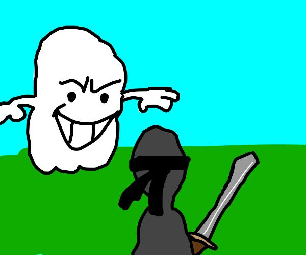 ninja fighting ghost with swords