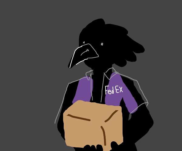 crow in fed-ex uniform