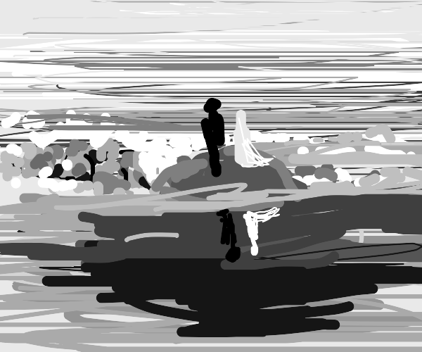 shadow man and light woman on island in lake