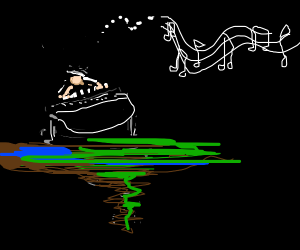 Dude on a floating piano