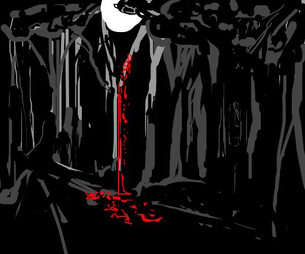 Bleeding tree in the dark woods