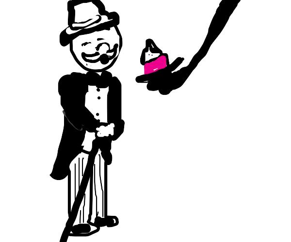 Rich snobby man snubs his nose at cupcake