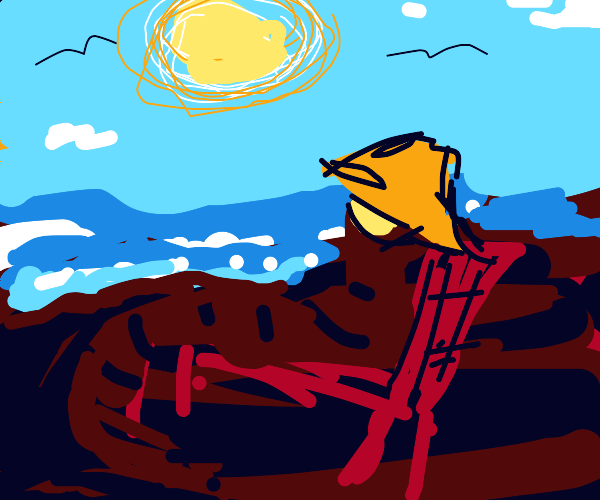 worm with orange hat and yellow sunglasses