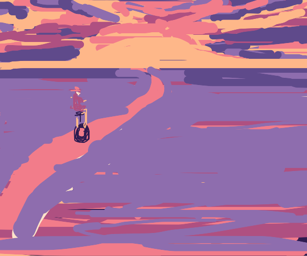 Riding unicycle in sunset