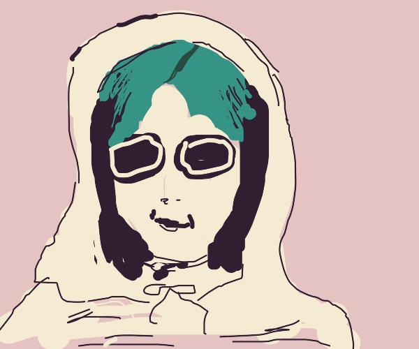 Green haired girl smirks