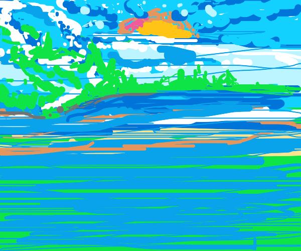The Sun rising over the ocean