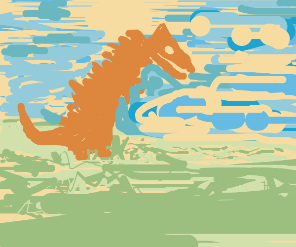 dinosaur in a field