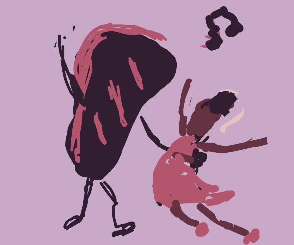woman dances with a burnt steak