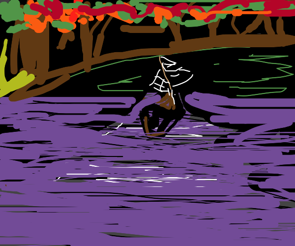 boat on river with fairy lights&autumn leaves