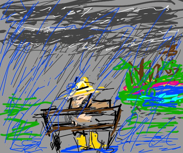 guy sitting on bench in the rain