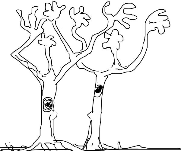 slightly threatening trees