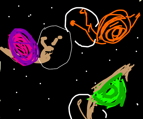 A variety of snails floating in outer space