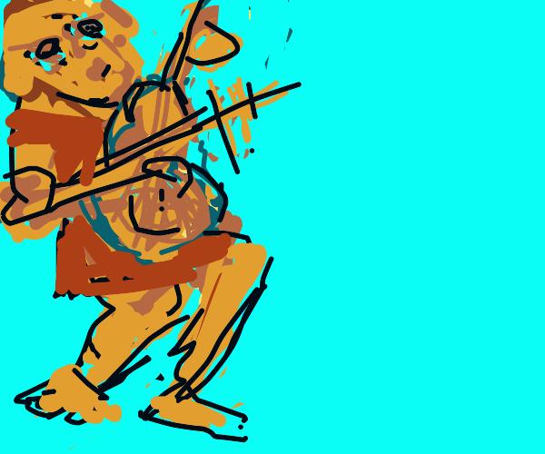 Dog plays violin