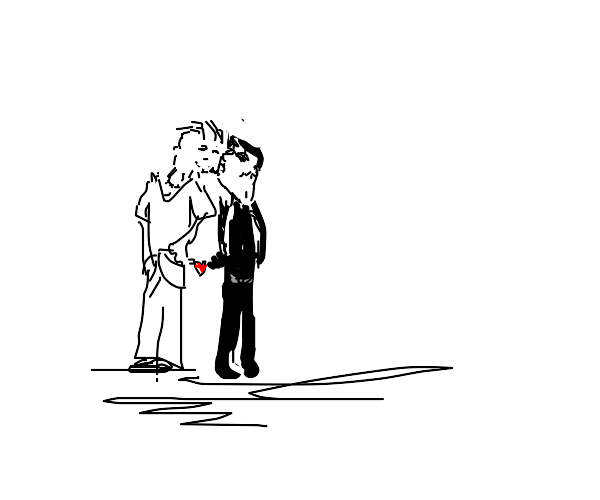 curious guy and emo boy kissing