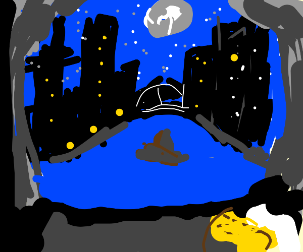 woman sleeping in bed, city skyline in window