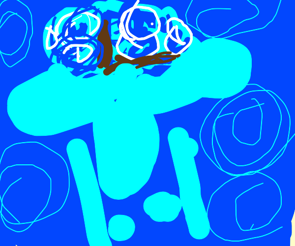 Blue and distorted Squidward