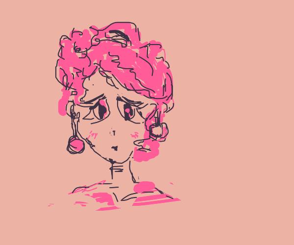 sad Pink girl with huge earings